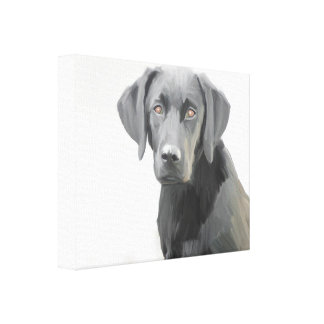 Black Labrador Retriever Dog Oil Painting Canvas Print