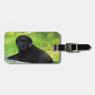 Black Labrador Retriever Dog Puppy Luggage Tag
