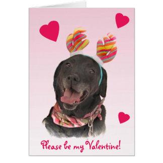 Black Labrador Retriever Dog Valentine Card