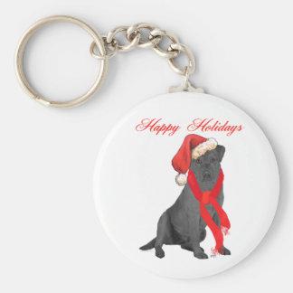 Black Labrador Retriever Holiday Greetings Basic Round Button Key Ring