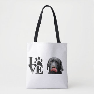 Black Labrador Retriever LOVE bag, purse Tote Bag