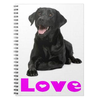 Black Labrador Retriever Puppy, Purple Love Spiral Note Books