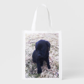 Black Labrador Retriever Puppy Reusable Bag