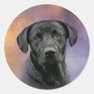 Black Labrador Retriever Round Sticker
