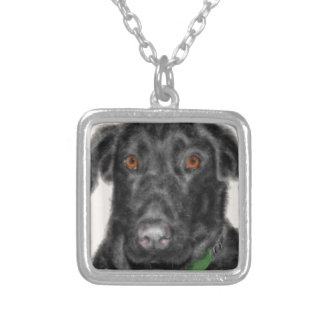 Black Labrador retriever Silver Plated Necklace