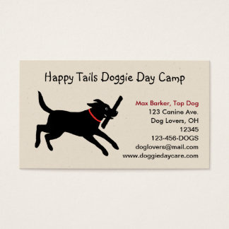 Black Labrador Retriever with Stick Business Card
