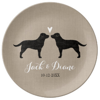 Black Labrador Retrievers with Heart and Text Porcelain Plate