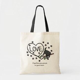 Black Labrador Sand Letters Cartoon Bags