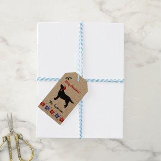Black Labrador Silhouette Santa Christmas Gift Tags