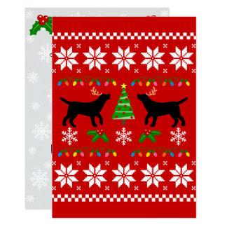 Black Labrador Silhouette Ugly Christmas Pattern Card