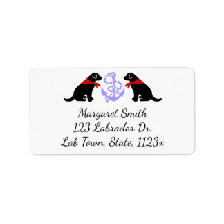 Black Labrador Sitting Outline Nautical Address Label