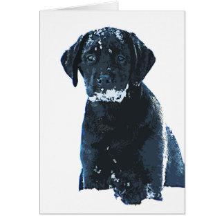 Black Labrador - Snow Crystals Card