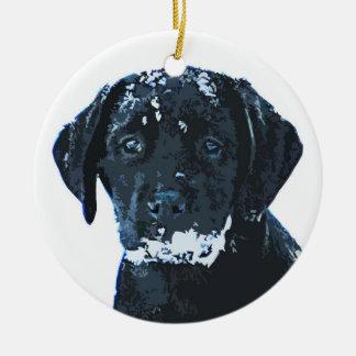 Black Labrador - Snow Crystals Ceramic Ornament