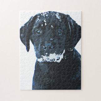 Black Labrador - Snow Crystals Jigsaw Puzzle
