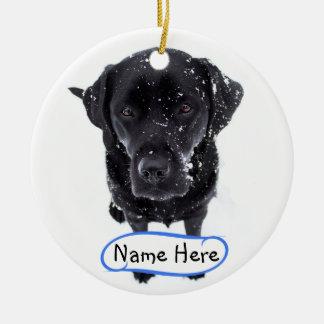 Black Labrador - Snow Dog Ceramic Ornament