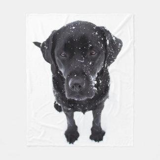 Black Labrador - Snow Dog Fleece Blanket