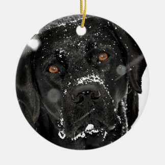 Black Labrador - Snow Globe Ceramic Ornament