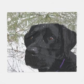 Black Labrador - Sparkling Pines Fleece Blanket