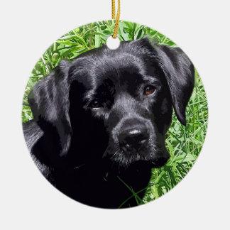Black Labrador -Spring Day Ceramic Ornament