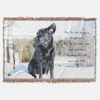 Black Labrador - Sun and Wind Throw Blanket