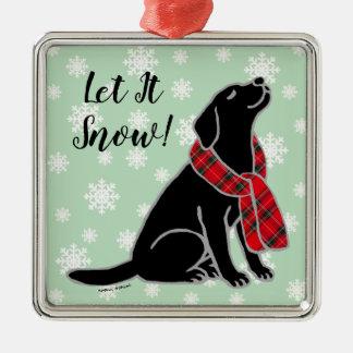 Black Labrador Tartan Scarf Ornament
