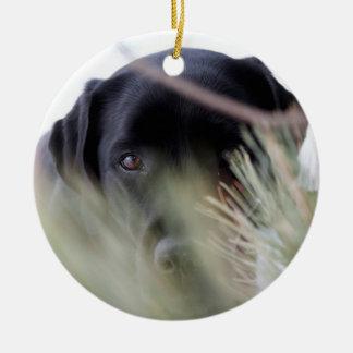 Black Labrador - Thru the Trees Ceramic Ornament