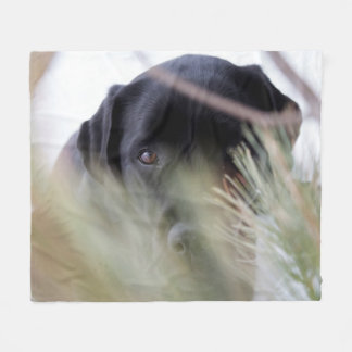 Black Labrador - Thru the Trees Fleece Blanket