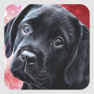 Black Labrador  Valentine Puppy Square Sticker