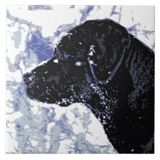 Black Labrador - Winter Wonderland Ceramic Tile