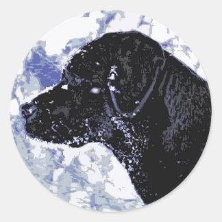 Black Labrador - Winter Wonderland Round Sticker