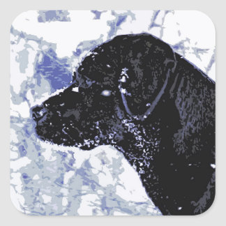 Black Labrador - Winter Wonderland Square Sticker