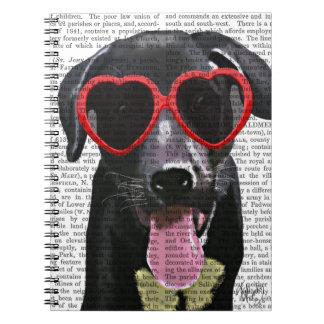 Black Labrador With Heart Sunglasses Notebook