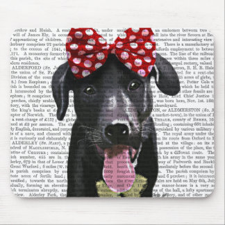 Black Labrador With Red Bow On Head Mouse Pad