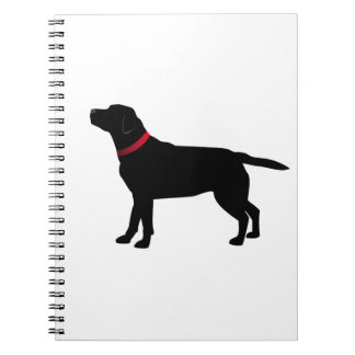 Black Labrador with Red Collar Spiral Notebooks