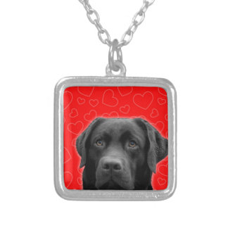 Black Labrador with Red Hearts Silver Plated Necklace