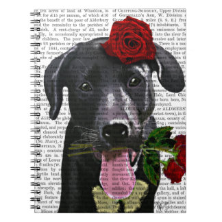 Black Labrador with Roses 2 Spiral Note Book