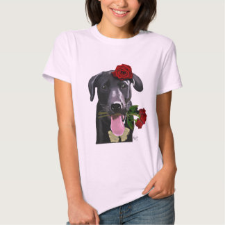 Black Labrador with Roses 2 T-shirts