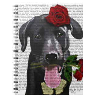 Black Labrador with Roses Note Books