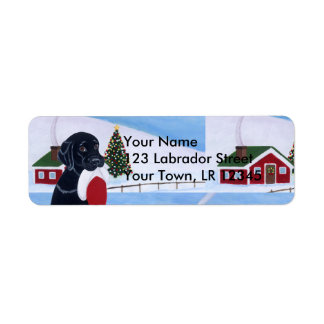 Black Labrador with Santa Hat Snow Land Return Address Label