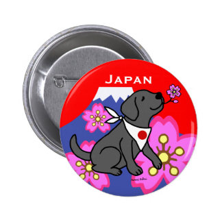 Black Labradors Japan Cartoon 6 Cm Round Badge