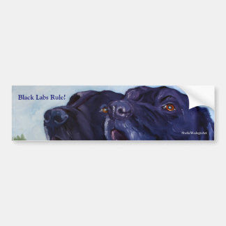Black Labs Rule!, SheilaWedegisArt Bumper Sticker