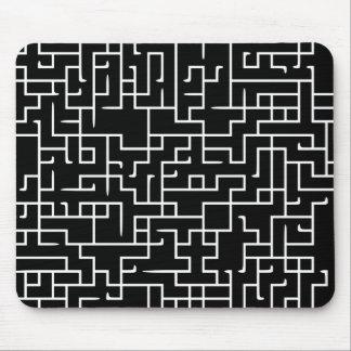 Black labyrinth maze design mouse pad