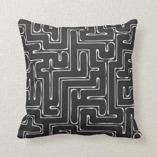 Black Labyrinth Throw Pillow