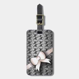 Black Lace and Bow Pattern Luggage Tag