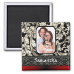 Black lace and damask square magnet