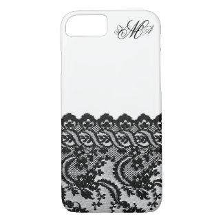 Black lace and monogram initials custom damask chi iPhone 8/7 case