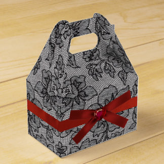 Black Lace and Red Satin Favour Box