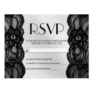 Black Lace and Satin RSVP Postcard