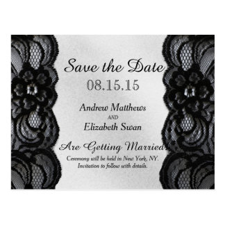 Black Lace and Satin Save the Date Postcard