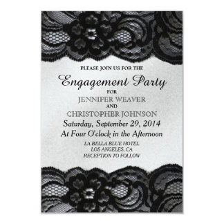 Black Lace and Sattin Engagement Party Invites